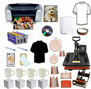 8in1 Combo Sublimation Heat Transfer Press Printer Refil Ink Tshirt Phone Bundle