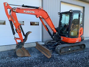 2018 Kubota Kx040 4 Mini Excavator Cab Heat ac Float Blade Low Hrs Warranty