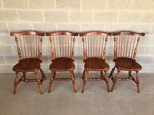 Frederick Duckloe Solid Cherry Windsor Side Chairs Set Of 4