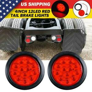 Pair 4 Inch Red 12 Led Round Tail Rear Stop Brake Lights 12v For Truck Trailer