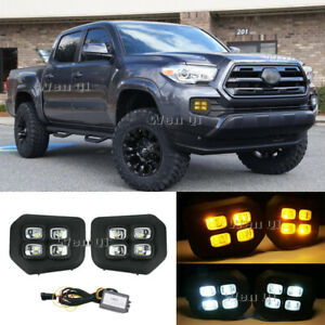 Fit 2016 2018 Toyota Tacoma 4 Eyes Drl Led Fog Lights Amber Turn Signal Lamps
