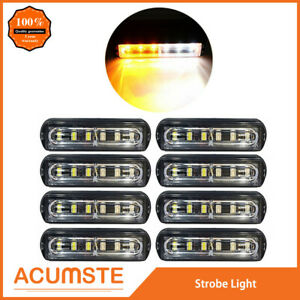 8x Super Bright 6 Led Waterproof Car Truck Flash Strobe Light Drl Amber white