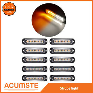 10pcs Amber white Car 10 Led Emergency Warning Flash Strobe Light Kit Bar Truck