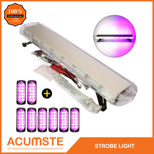 38 White Purple 72 Led Emergency Warning Strobe Light Bar 8pc 12 Led Lights