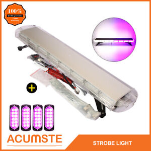38 White Purple 72 Led Emergency Warning Strobe Light Bar 4pc 12 Led Lights