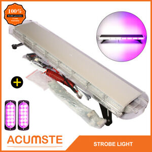 38 White Purple 72 Led Emergency Warning Strobe Light Bar 2pcs 12 Led Lights