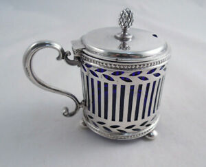 Tiffany Sterling Silver Mustard Pot With Cobalt Glass Liner