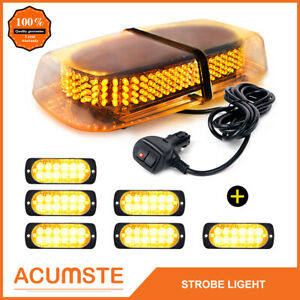 240 Led Emergency Top Roof Flash Warning Strobe Light Amber 6pcs 12 Led Lights
