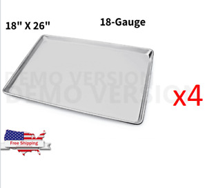 4 pack Full Size Aluminum Baking Sheet Pans 18 x26 18ga Commercial Wire Rim