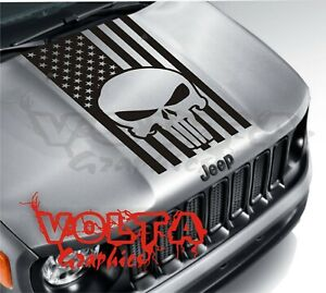 Vinyl Hood Decal Compatible With Jeep Renegade Blackout Punisher Flag Graphic