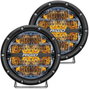 Rigid 360 Series 6in Amber Led Off Road Round Beam Driving Light 36206
