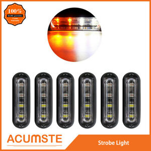 6pc Super Bright 4 Led Waterproof Car Truck Flash Strobe Light Drl Amber white