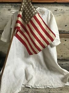 Early Primitive Americana Folky Black Calico Farm Childs Dress With Early Flag