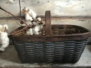 Early Primitive Down Home Americana Folky Blue Farm Gathering Basket