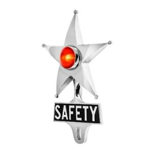 Safety Star License Plate Topper Chrome W Mini Moon Dual Function Red Led