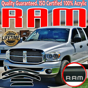 2002 2008 Dodge Ram 1500 Quad Cab Window Deflectors Shades Visors Vent With Logo