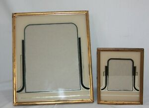 Vtg Set Of Art Deco Reverse Painted Black Cream Picture Frames 8 X 10 5 X 7