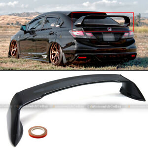 Fits 12 15 Civic 4dr Sedan Glossy Black Jdm Mugen Style Rr Trunk Wing Spoiler
