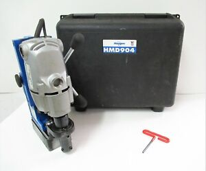 Hougen Magnetic Drill Press Portable 115 Vac 450 Rpm W Hard Case Hmd904 Tested