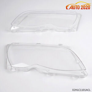 2pcs Headlight Clear Lense Cover Fit For 2002 2005 Bmw E46 3 Series 4dr
