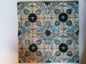 16 Vintage Ceramic Reclaimed Moroccan Design Handpainted Accent Art Wall Tiles