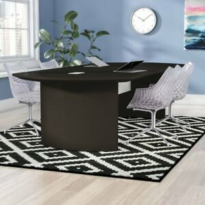 Oval Conference Table Curved Wood Seminar Meeting Office Business Furniture New