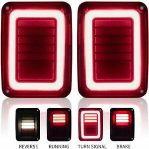Sequential Led Tail Lights Brake Turn Signal Smoked For Jeep Wrangler Jk 07 17