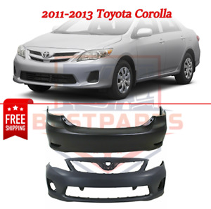 New Bumper Covers Facials Set Of 2 Front Rear For 2011 2013 Toyota Corolla