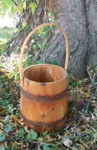 Antique Primitive Farm Wooden Bucket Vintage Country Pail Decoration