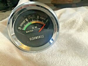 Tested Oldsmobile Cutlass 442 W30 Tri Power Console Vacuum Gauge Nice Condition