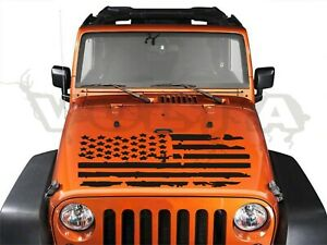 Vinyl Hood Decal For Jeep Wrangler Distressed American Flag Graphic Usa