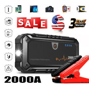 12v 2000a Car Jump Starter Booster Jumper Box Power Bank Battery Charger Clamps