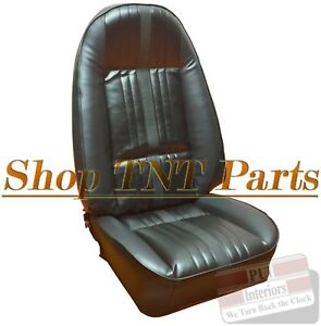 1972 Nova Front Bucket Seat Covers Chevrolet Ralley Upholstery Skins Black Vinyl