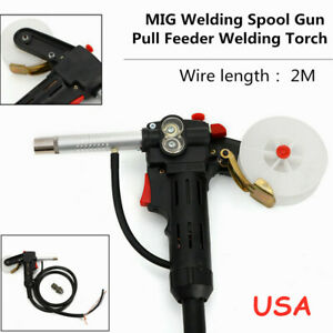 Mig Welder Spool Gun Push Pull Feeder Alu Welding Torch 6ft Wire Cable 2m Usa