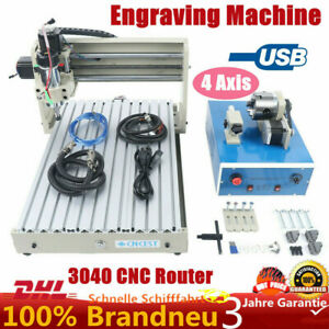 Usb 4 axis 3040 Cnc Router Engraver Woodworking Milling Cutting Machine 400w De