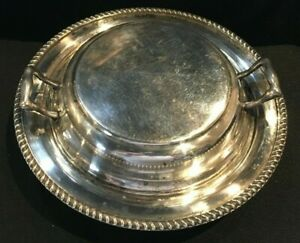 Vintage Academy Silver On Copper 10 Round Serving Dish With Lid 703