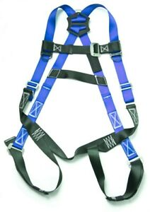 Fall Protection Harness Ring Full Body Ansi Osha Roofers Construction Blue