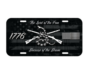 Land Of Free Brave 1776 Usa Us Flag Patriot Vehicle License Plate Nra Army New