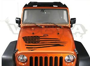 Vinyl Hood Decal Compatible With Jeep Wrangler distressed Large American Flag