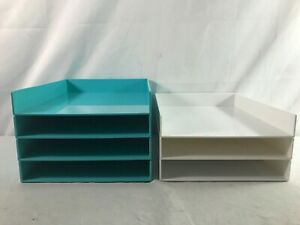 Poppin Stackable Letter Trays inboxes Lot Of 7 White Aqua Euc