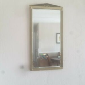 Antique Beveled Gesso Hanging Wall Mirror 27 Tall X 14 Across