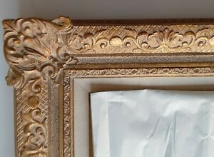 Antique Ornate Wood Carved Gold Gilt Frame W Original Oil Painting Signed 12lbs
