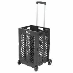 Wheels Mesh Rolling Utility Cart Folding 55lbs Capacity Plastic Shopping Trolley