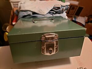 Vintage Excelsior Green Keyed Metal Office File Lock Box Keys Stamford Conn Usa
