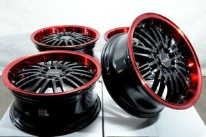 16x7 Black Red Wheels Rims Honda Civic Accord Pilot Corolla Prius Galant 5 Lugs