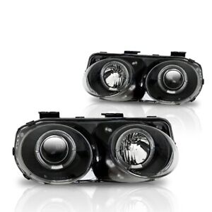 Fits 98 01 Acura Integra Pair Projector Halo Headlights Black Housing Clear Lens