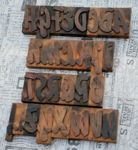 A z Alphabet 3 19 Letterpress Wooden Printing Blocks Wood Type Vintage Print