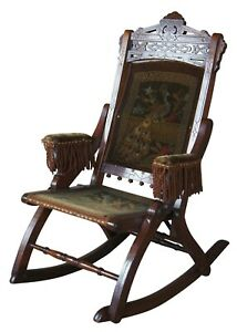 Antique Victorian Walnut Campaign Rocker Tapestry Seat Folding Chair Eastlake
