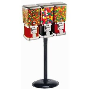 Triple Pro Line Gumball Vending Machines On Heavy Duty Cast Iron Stand