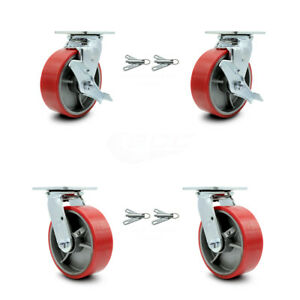 6 Red Poly On Cast Iron Caster 2 Swvl W top Brk Bsl And 2 Swvl W bsl Scc